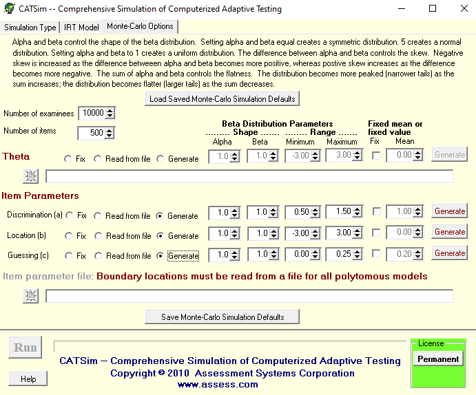 adaptive testing simulation